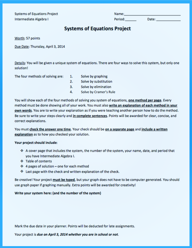 Algebra 1   Zach Tocchi\'s Online Portfolio
